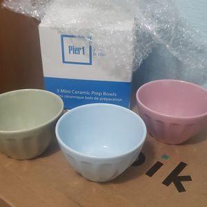 Brand new Pier 1 3 mini ceramic prep bowl set